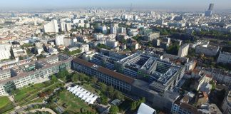 Aerial View Eole Headquarters Evergreen Campus Montrogue, France : Photo credit © Bouygues Bâtiment