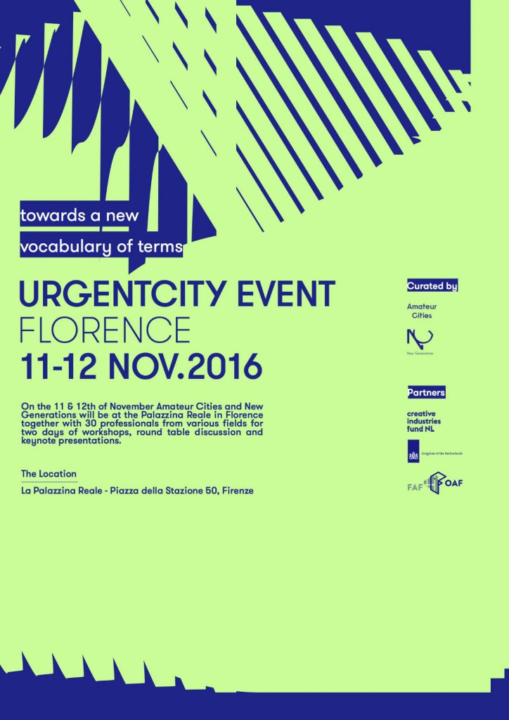 UrgentCity - Towards a New Vocabulary of Terms : Poster © Amateur Cities and © New Generations