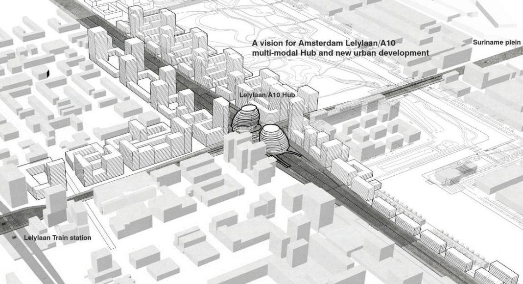 Lelylaan/A10 Multimodal Hub and new urban development in Amsterdam : Render © UNStudio