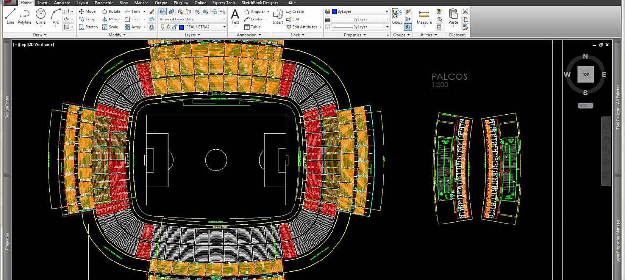 Diseño de los Asientos de un Estadio con AutoCAD 2017 : Fotografía © Autodesk México