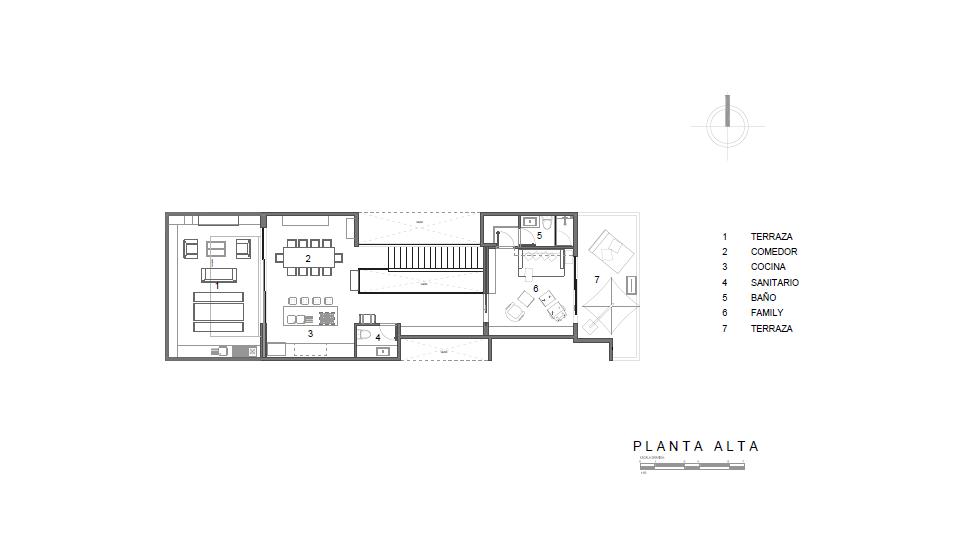 Planta Alta Departamento Lafontaine #124 : Dibujo © Sobrado + Ugalde ARQUITECTOS