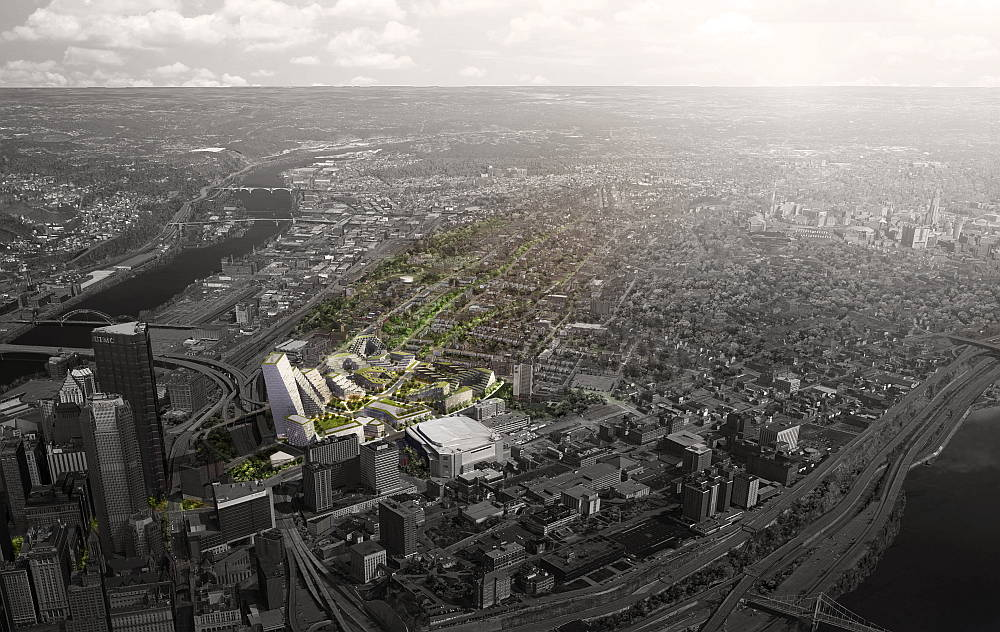 BIG Redefine Pittsburg con un Plan Maestro para el Distrito Lower Hill : Render © BIG - Bjarke Ingels Group