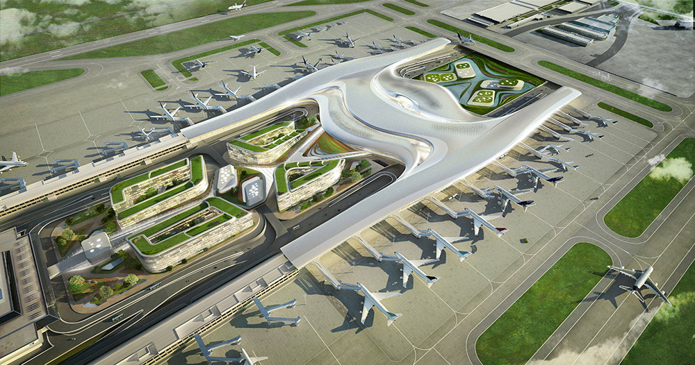 Terminal 3 of Taiwan Taoyuan International Airport Aereal Perspective : Render © UNStudio