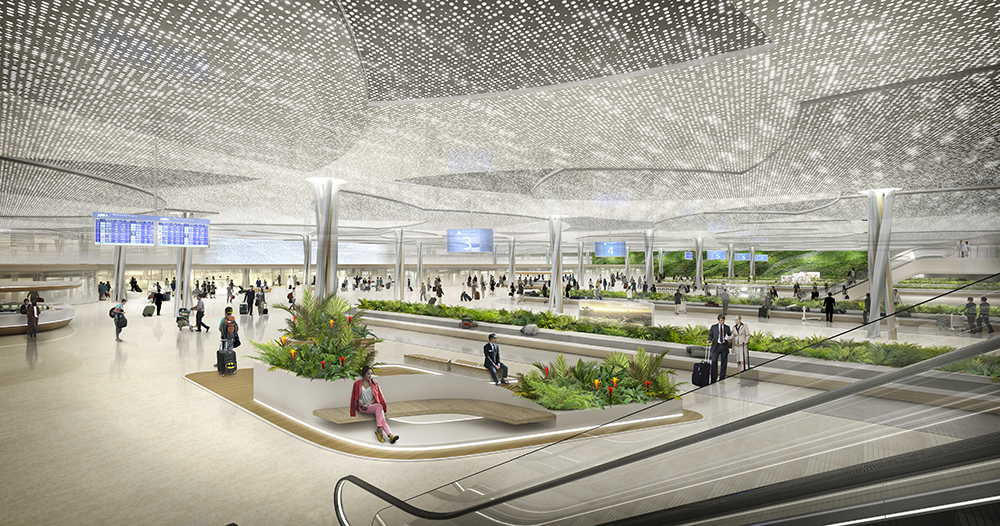 Terminal 3 of Taiwan Taoyuan International Airport Perspective Arrival Baggage Claim Hall : Render © UNStudio