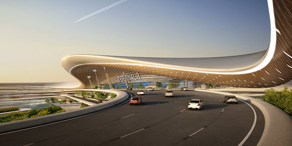 Terminal 3 of Taiwan Taoyuan International Airport Perspective Entrance : Render © UNStudio