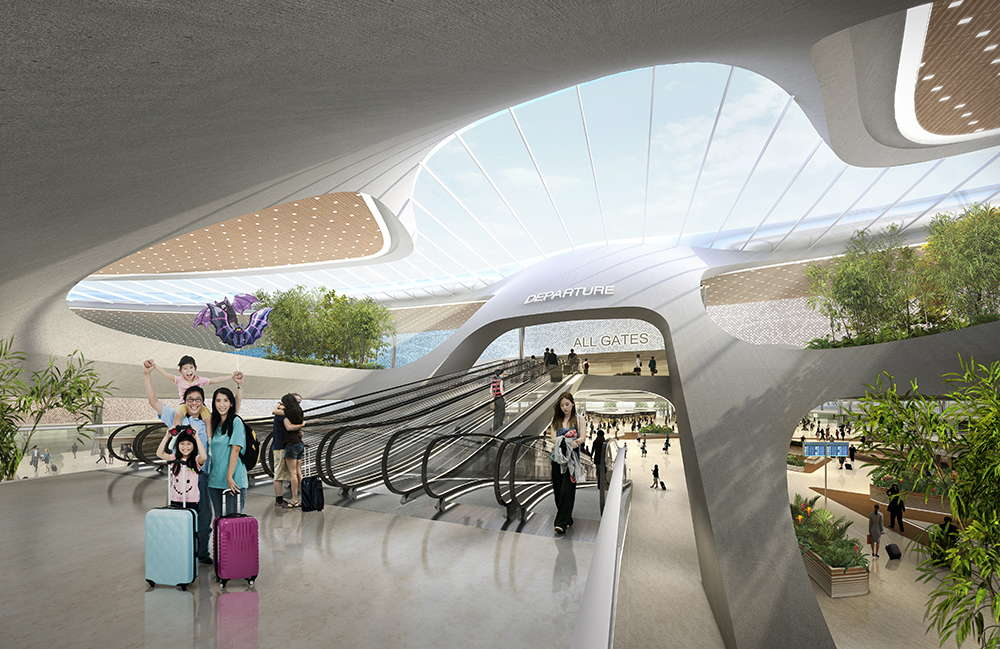 Terminal 3 of Taiwan Taoyuan International Airport Perspective Funnel Circulation : Render © UNStudio