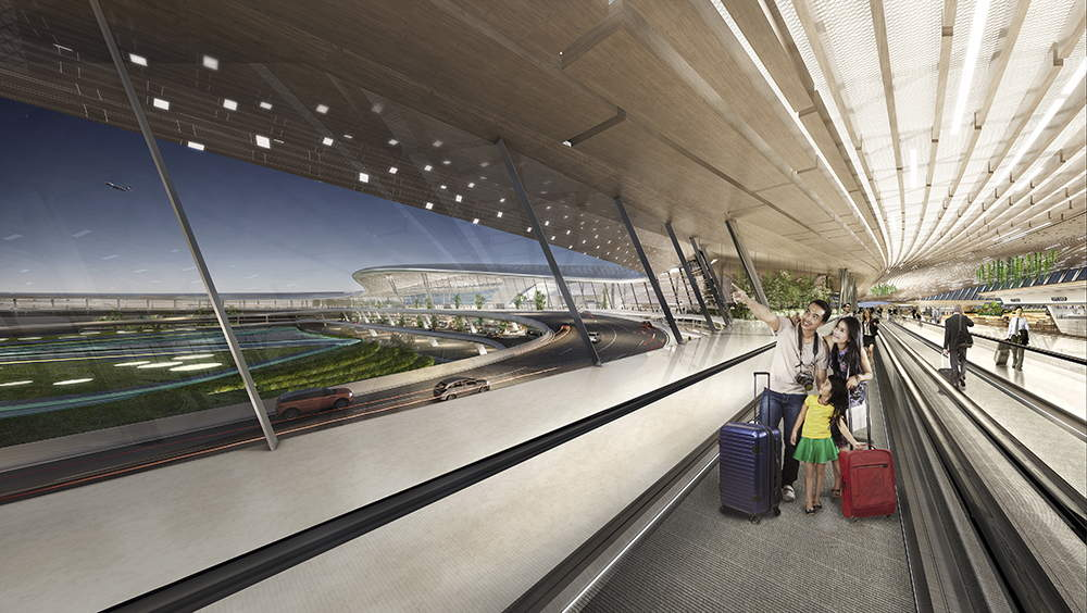 Terminal 3 of Taiwan Taoyuan International Airport Perspective Departure Concourse : Render © UNStudio
