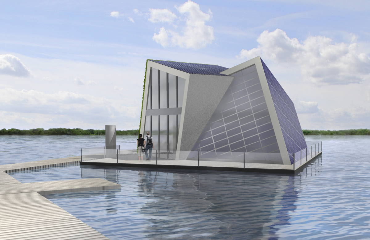 Building design of a floating house that provides its own heat and water : Render © Fraunhofer IVI
