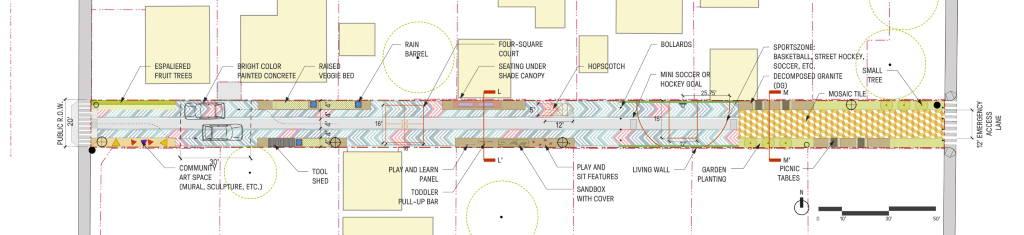 Oxnard Green Alleys Plan Espacios Comunitarios : Drawing © SWA Grop
