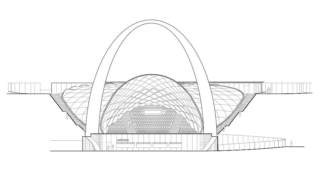 Szczecin Summer Theatre Back Elevation by Flanagan Lawrence Architects : Drawing © Flanagan Lawrence Architects