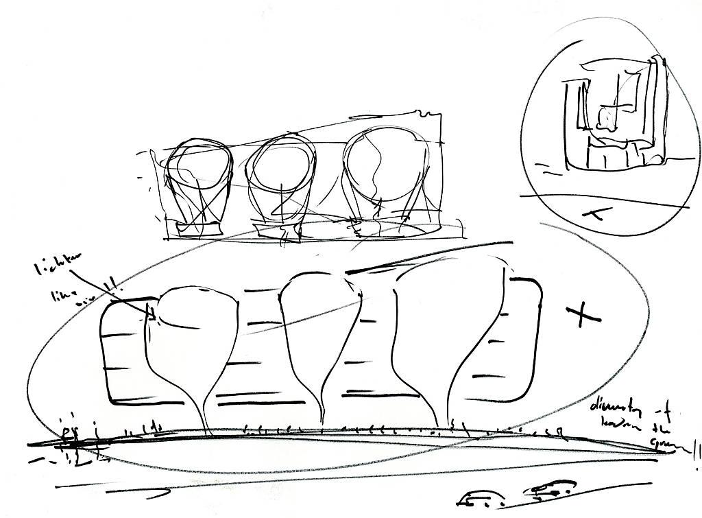 Mixed Use Building Toison d'Or in Brussels, Blegium by UNStudio : Sketch © Ben van Berkel