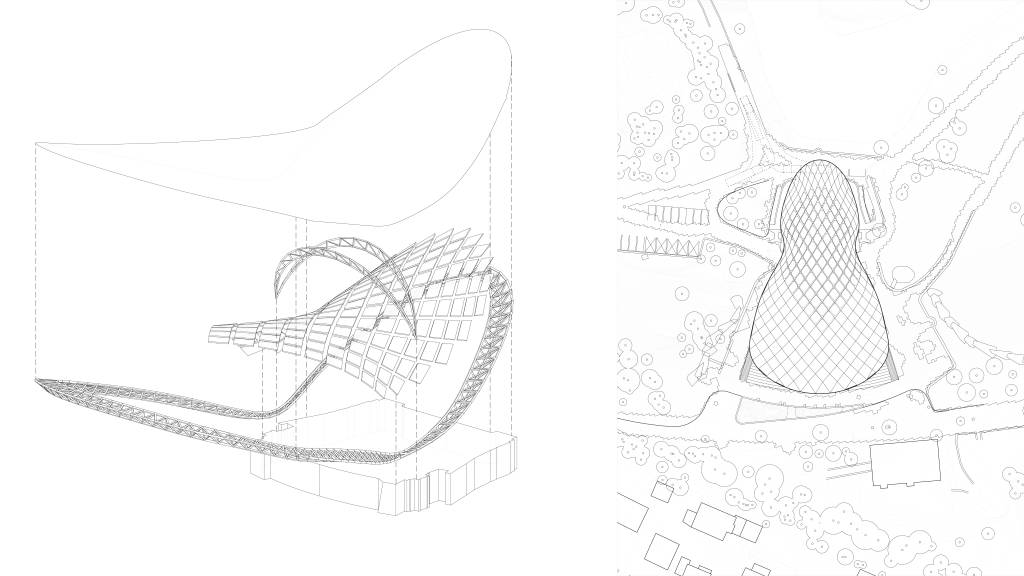 Szczecin Summer Theatre Back Elevation Deconstructive Diagram and Roof Plan by Flanagan Lawrence Architects : Drawing © Flanagan Lawrence Architects