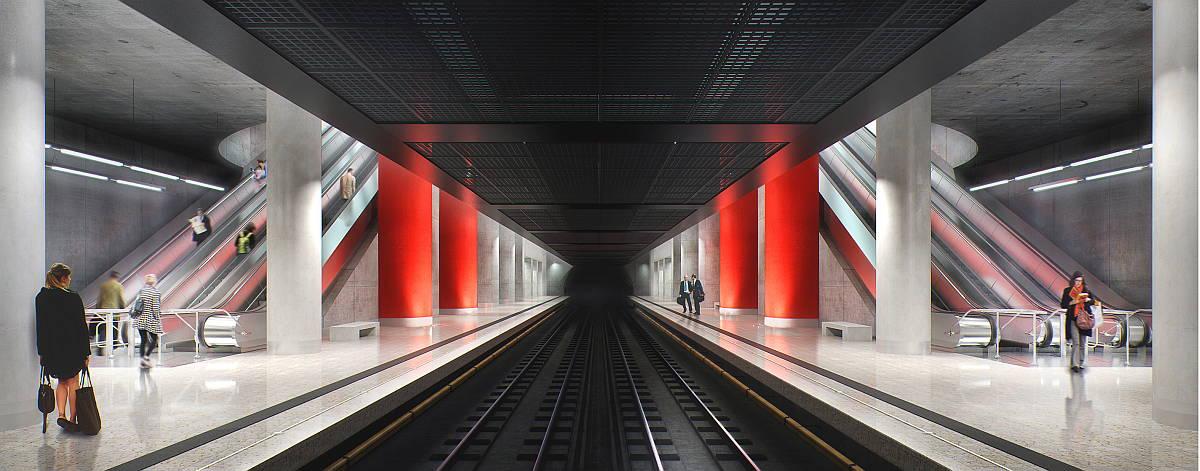 Estación Nizhniye Mnevniki Platform : Render © Timur Bashkaev Architectural Bureau