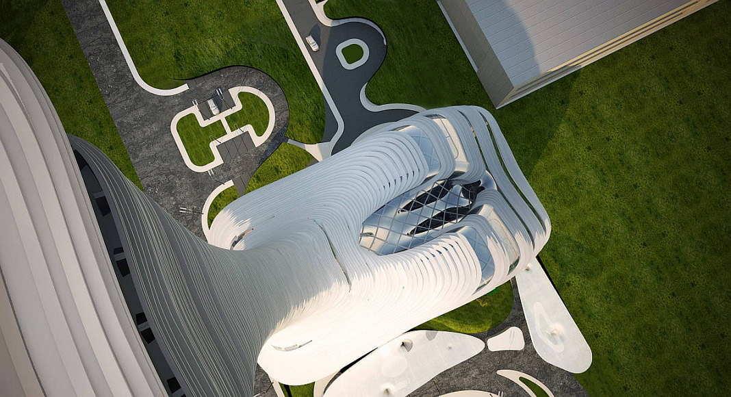 Un render de la vista aérea de la Torre de Control de Tráfico Aéreo en Estambul : Render © RMJM