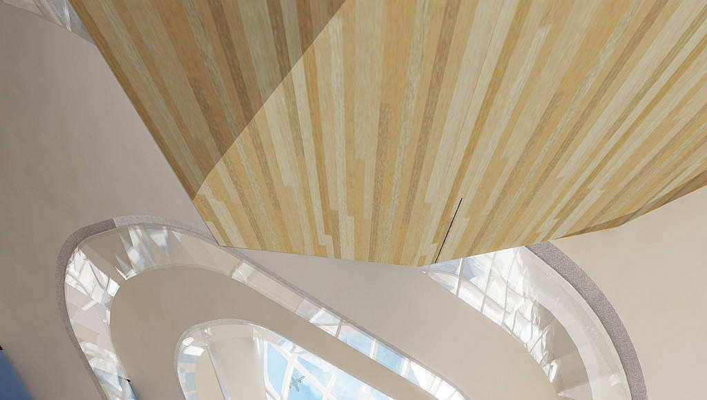 Un render del interior del diseño creado por RMJM para la Torre de Control de Tráfico Aéreo en Estambul : Render © RMJM