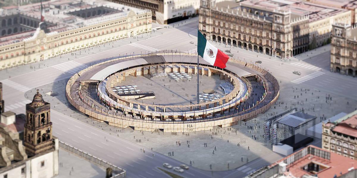 Vista de Conjunto del Pabellón Feria de las Culturas Amigas : Render © Ambrosi | Etchegaray