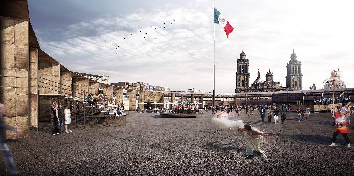 Vista Exterior del Pabellón Feria de las Culturas Amigas : Render © Ambrosi | Etchegaray