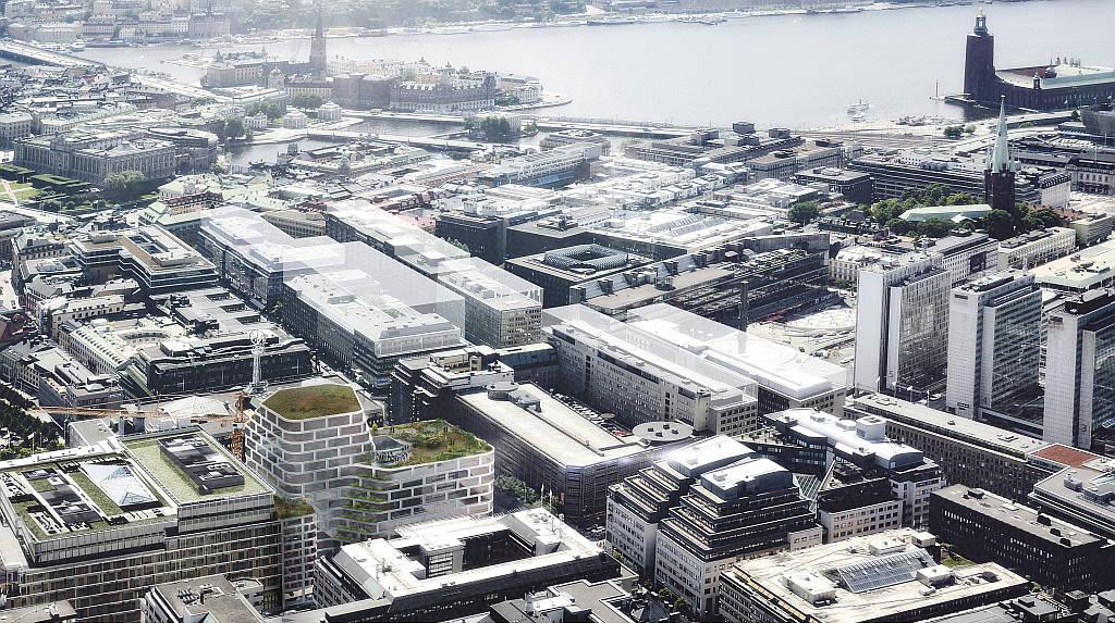 Hästen 21 Stockholm Aerial View designed by Schmidt Hammer Lassen Architects : Render © Schmidt Hammer Lassen Architects