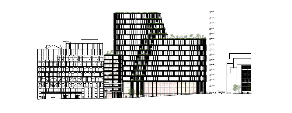 Hästen 21 Stockholm Northern Elevation : Drawing © Schmidt Hammer Lassen Architects