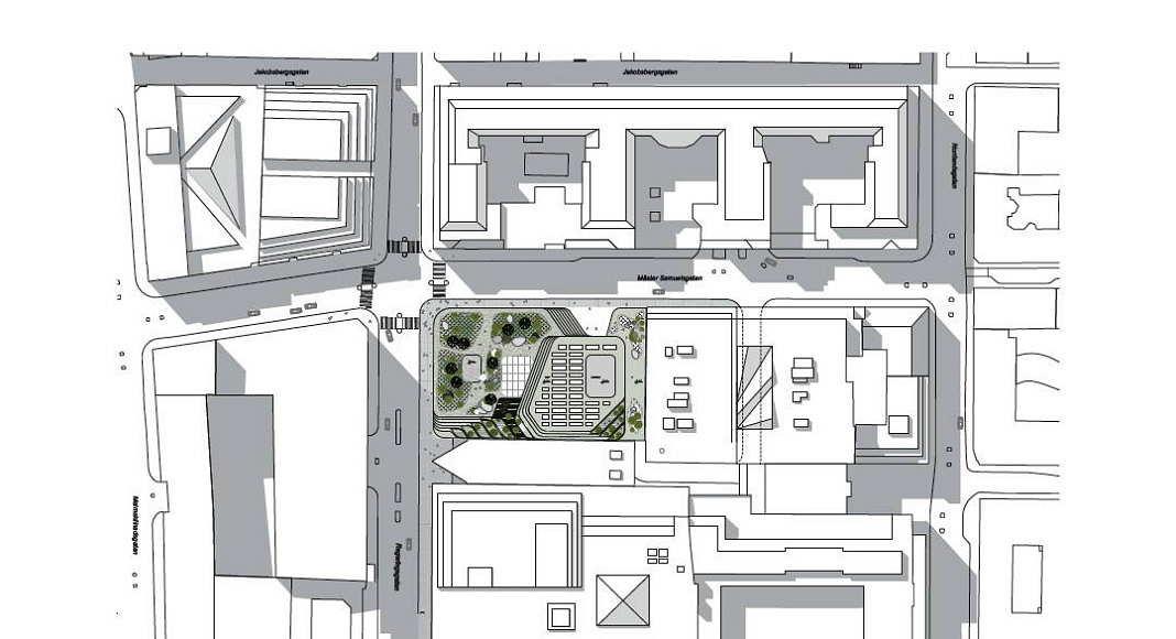 Hästen 21 Stockholm Site Plan 1:400 : Diagram © Schmidt Hammer Lassen Architects