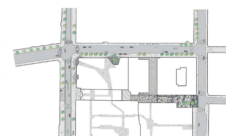 Hästen 21 Stockholm Site Plan with Pavement : Diagram © Schmidt Hammer Lassen Architects