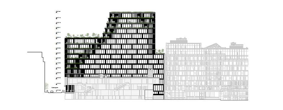 Hästen 21 Stockholm South Elevation : Diagram © Schmidt Hammer Lassen Architects