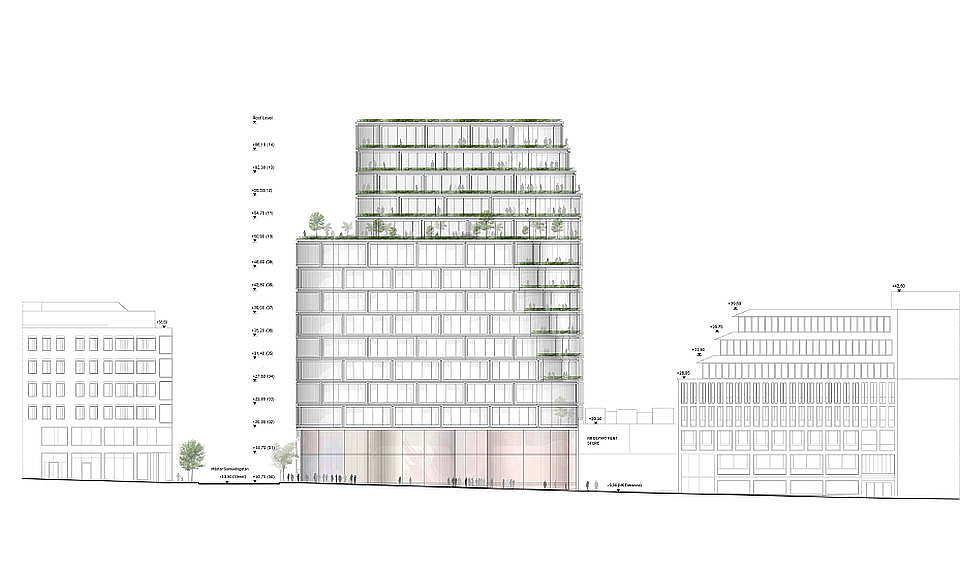 Hästen 21 Stockholm West Elevation : Diagram © Schmidt Hammer Lassen Architects