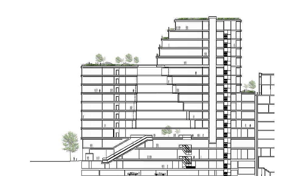 Hästen 21 Stockholm Section A - A' 14 Floors Green : Diagram © Schmidt Hammer Lassen Architects