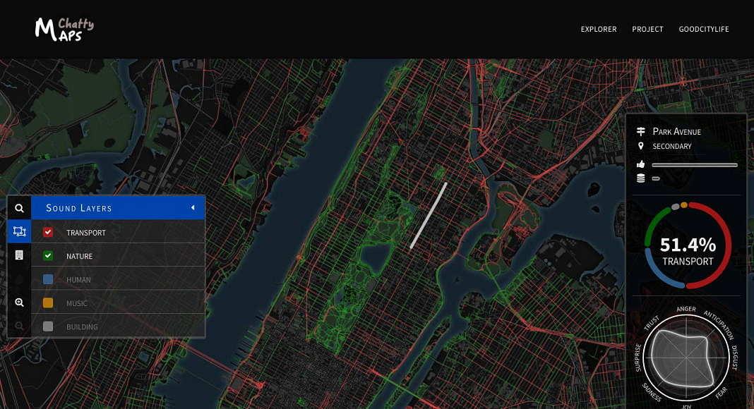 Sleccionar la estratificación de los sonidos urbanos : Imágen © Chatty Maps