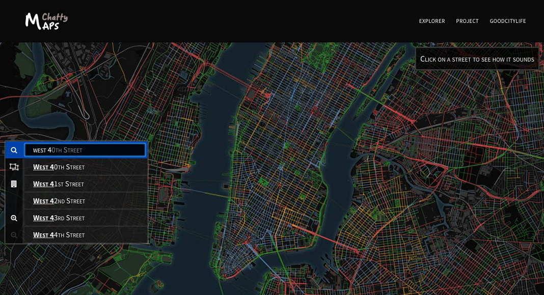Buscar un segmento de una calle para ver los sonidos urbanos : Imágen © Chatty Maps