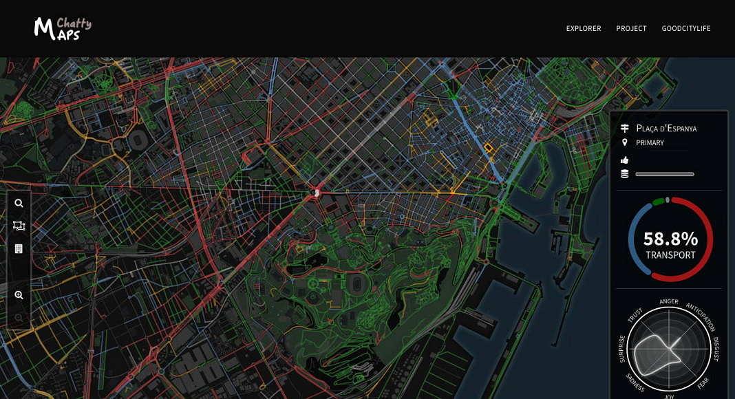 Seleccionar una ciudad para navegar por su paisaje sonoro : Imágen © Chatty Maps