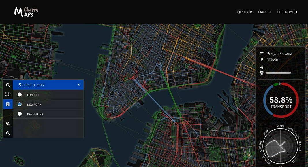 Inspeccionar el paisaje sonoro de un segmento de una calle : Imágen © Chatty Maps