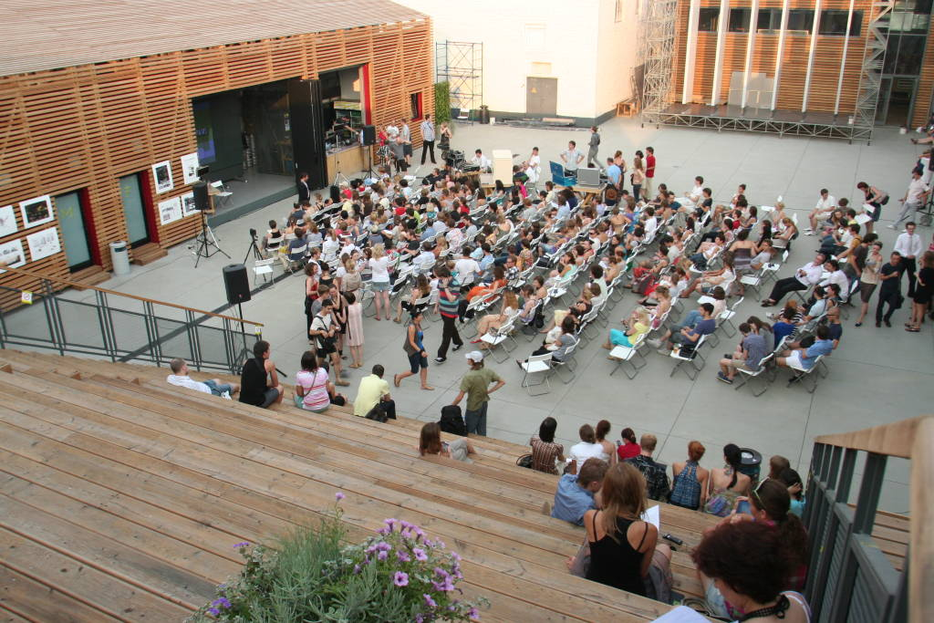 Lecture at Strelka Institute Courtyard : Photo © Strelka Institute