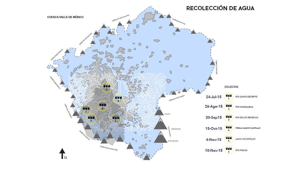 Recolección de Agua en la Cuenca del Valle de México : Mapa © Taller 13 y © Greenpeace México