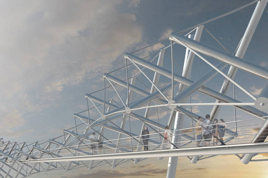 Tensegrity Bridge - Competition Entry Salford Meadows, UK - Atelier Architecture 64 Brooklyn, NY : Photo Credit © Atelier Architecture 64