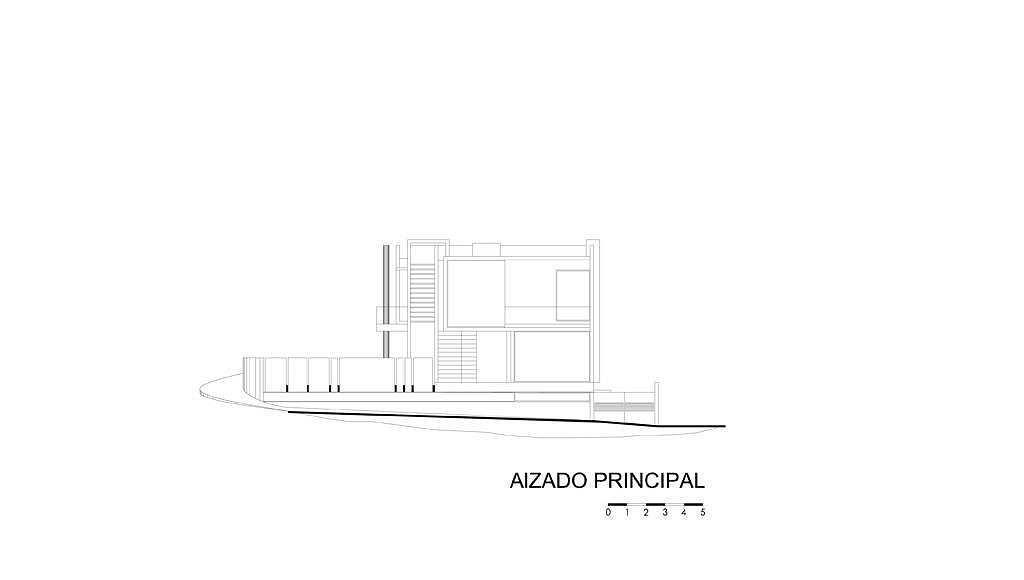 Alzado Principal del proyecto ejecutivo para la CasaBlanca : Dibujo © Agraz Arquitectos