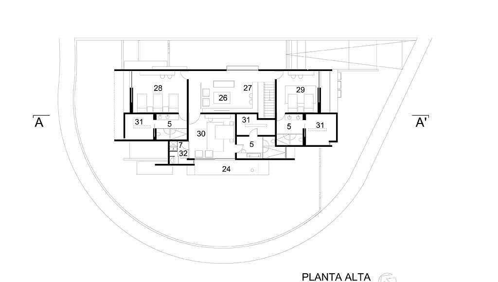 Planta Alta del proyecto ejecutivo para la CasaBlanca : Dibujo © Agraz Arquitectos
