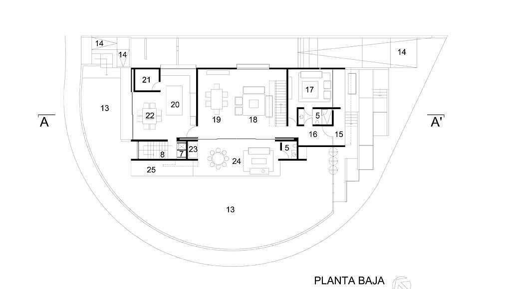 Planta Baja del proyecto ejecutivo para la CasaBlanca : Dibujo © Agraz Arquitectos