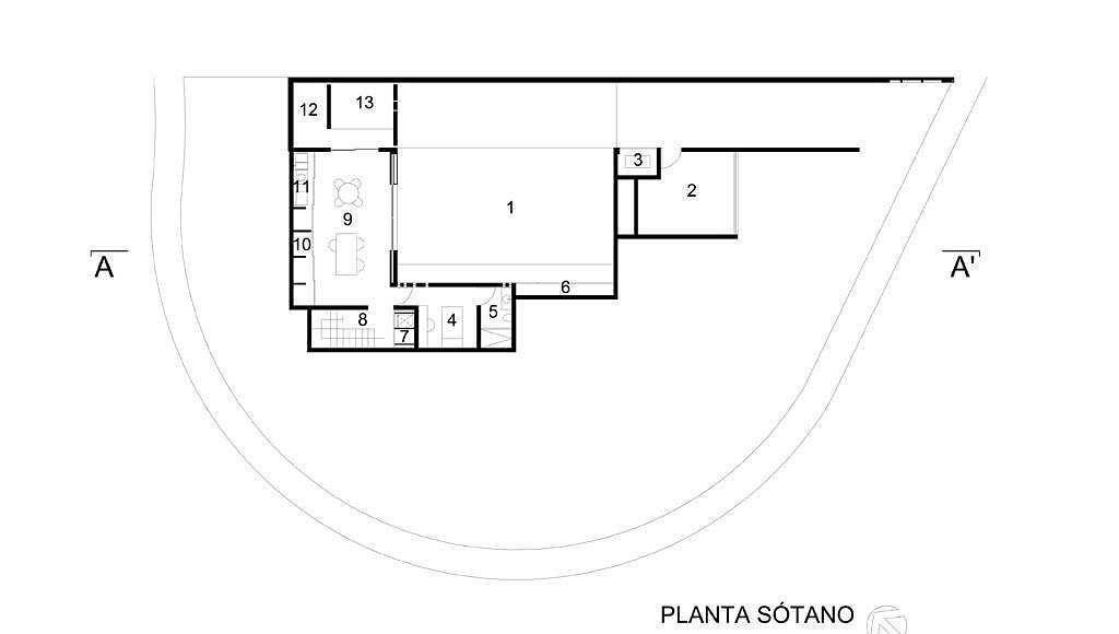 Planta Sótano del proyecto ejecutivo para la CasaBlanca : Dibujo © Agraz Arquitectos