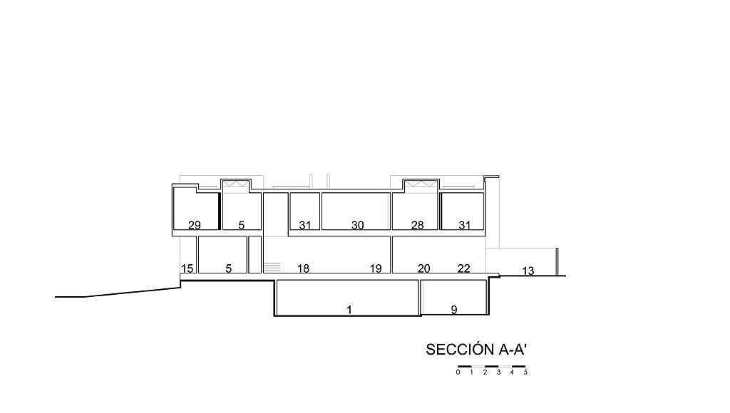 Sección A - A' del proyecto ejecutivo para la CasaBlanca : Dibujo © Agraz Arquitectos