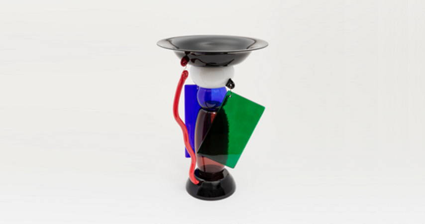 Designed by Ettore Sottsass (Italian, 1917–2007) Efira Bowl Designed 1986 Blown glass, sheet glass, brass wire H x diam.: 48.3 × 33.7 cm (19 in. × 13 1/4 in.) Manufactured by Toso Vetri d'Arte for Memphis, Murano, Venice, Italy : Photo Matt Flynn © Smithsonian Institution