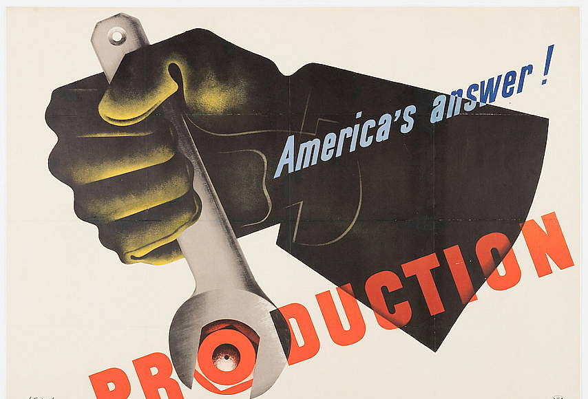 Designed by Jean Carlu (French, active United States, 1900 - 1997) Poster, America's Answer! Production Designed 1942 Offset lithograph on paper 76.2 × 101.6 cm (30 × 40 in.) Printed by the U.S. Government Printing Office Published by the Office of Emergency Management (USA) : Photo Matt Flynn © Smithsonian Institution