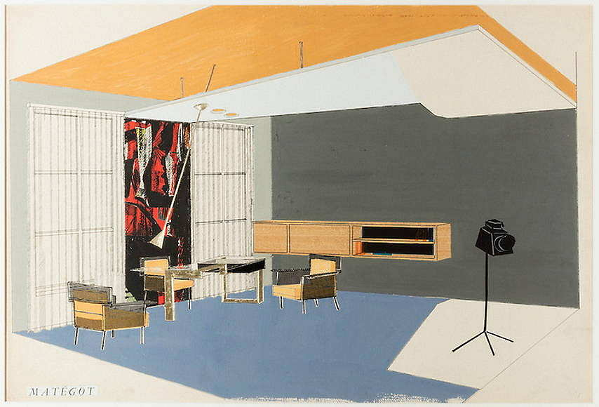 Designed by Mathieu Matégot (Hungarian and French, 1910-2001) Drawing, Interior Designed Ca. 1950 Gouache, ink, collage on paper 47 × 72.4 cm (18 1/2 × 28 1/2 in.) : Photo Matt Flynn © Smithsonian Institution