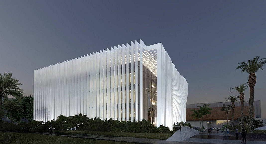 Centro de Nanociencia y Nanotecnología de la Universidad de Tel Aviv Perspective View from Einstein Square : Render © Atelier d'Architecture Michel Remon