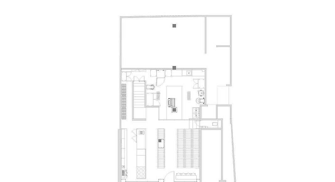 Planta Baja Panadería Aromas diseño de Central de Arquitectura y Pasquinel Studio : Dibujo © PASQUINEL Studio