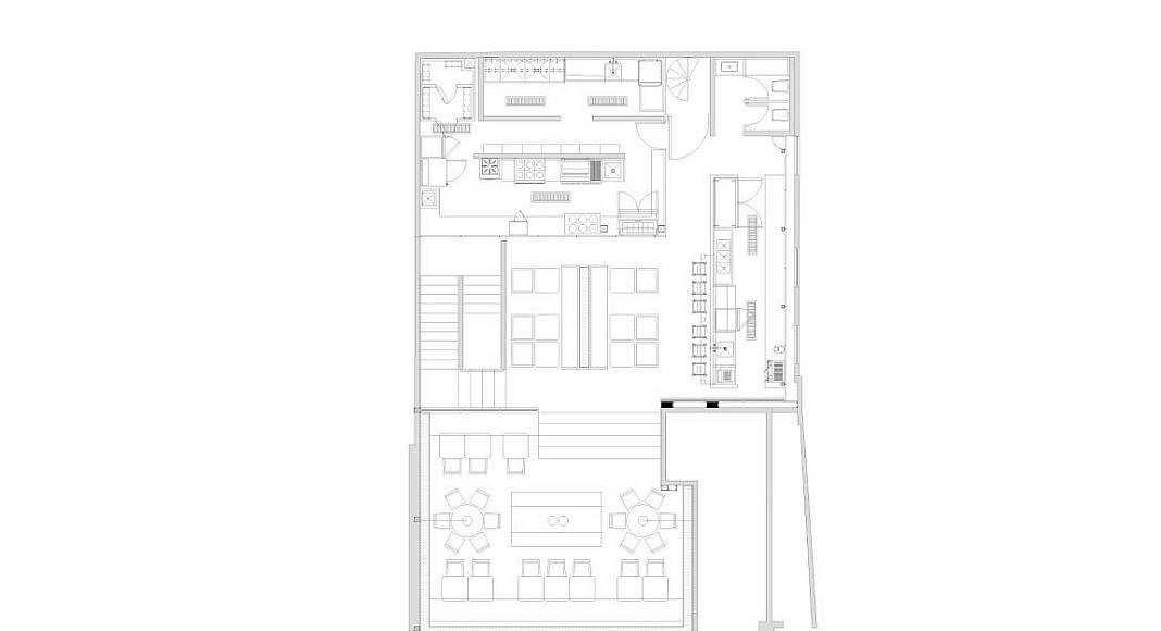 Planta Alta Panadería Aromas diseño de Central de Arquitectura y Pasquinel Studio : Dibujo © PASQUINEL Studio