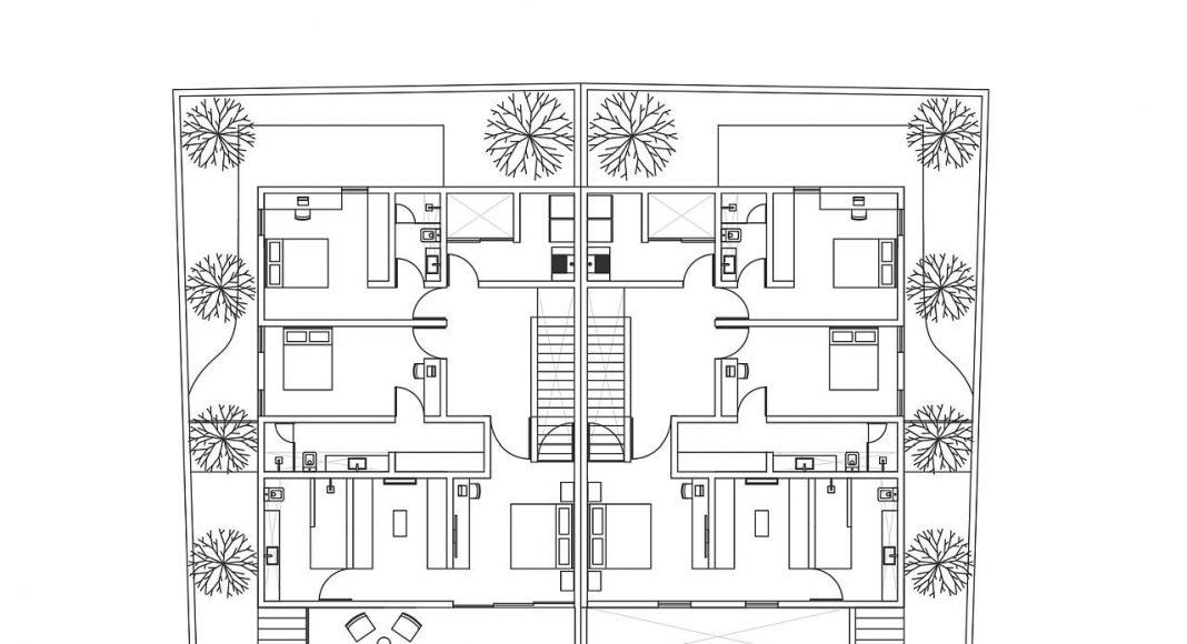 Casas Cuatas, Los Robles Planta Alta : Dibujos © La Desarrolladora