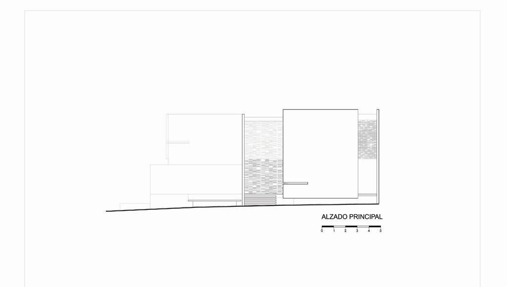 Alzado Principal Casa X proyecto de Agraz Arquitectos y Elías Rizo : Dibujo © Agraz Arquitectos