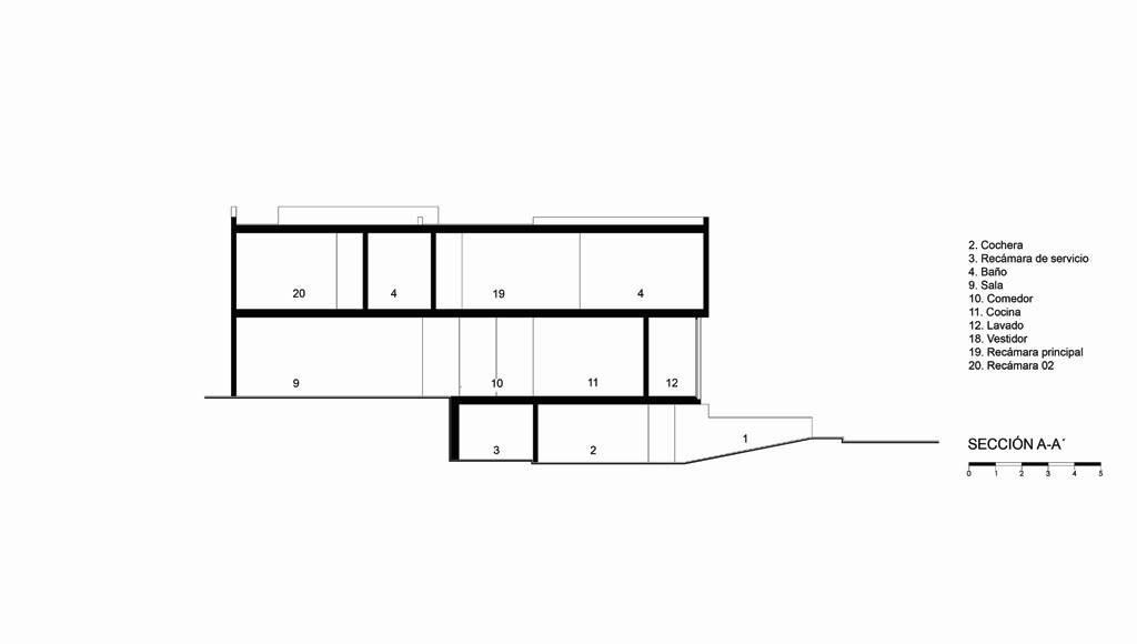 Sección A - A' Casa X proyecto de Agraz Arquitectos y Elías Rizo : Dibujo © Agraz Arquitectos
