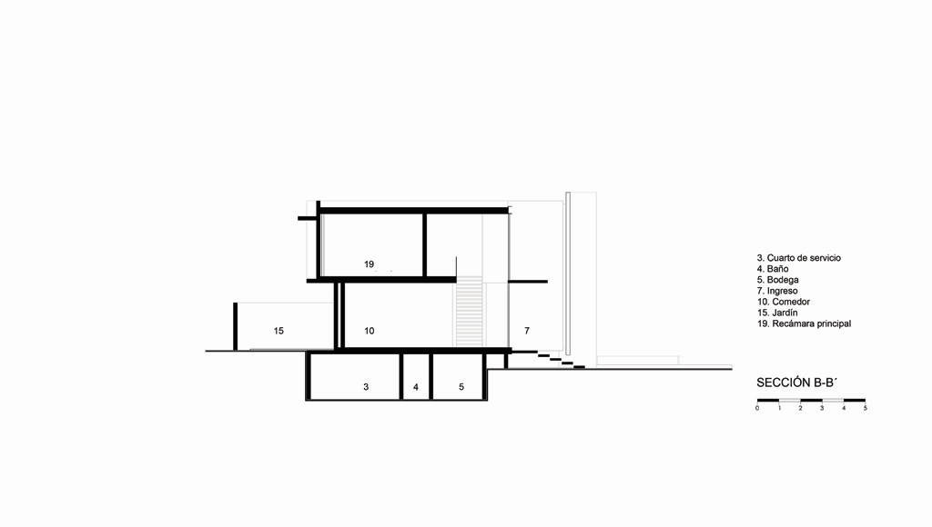 Sección B - B' Casa X proyecto de Agraz Arquitectos y Elías Rizo : Dibujo © Agraz Arquitectos
